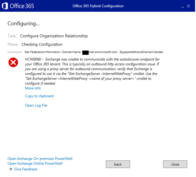 Exchange 2013 Hybrid Configuration Wizard Fails to Connect When